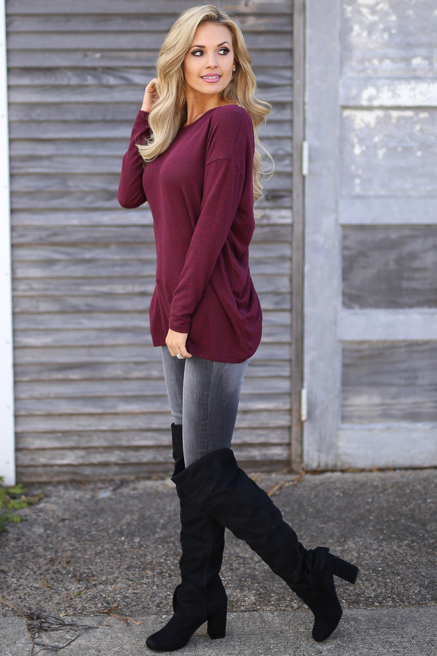 Full Moon Over-the-Knee Boots - Black suede over the knee heeled boots, side, Closet Candy Boutique