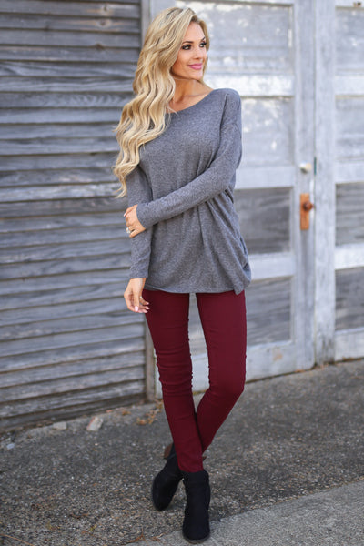Time of Your Life Top - Charcoal long sleeve drape back top, front view, Closet Candy Boutique
