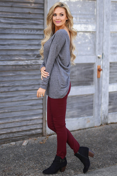 Time of Your Life Top - Charcoal long sleeve drape back top, side view, Closet Candy Boutique