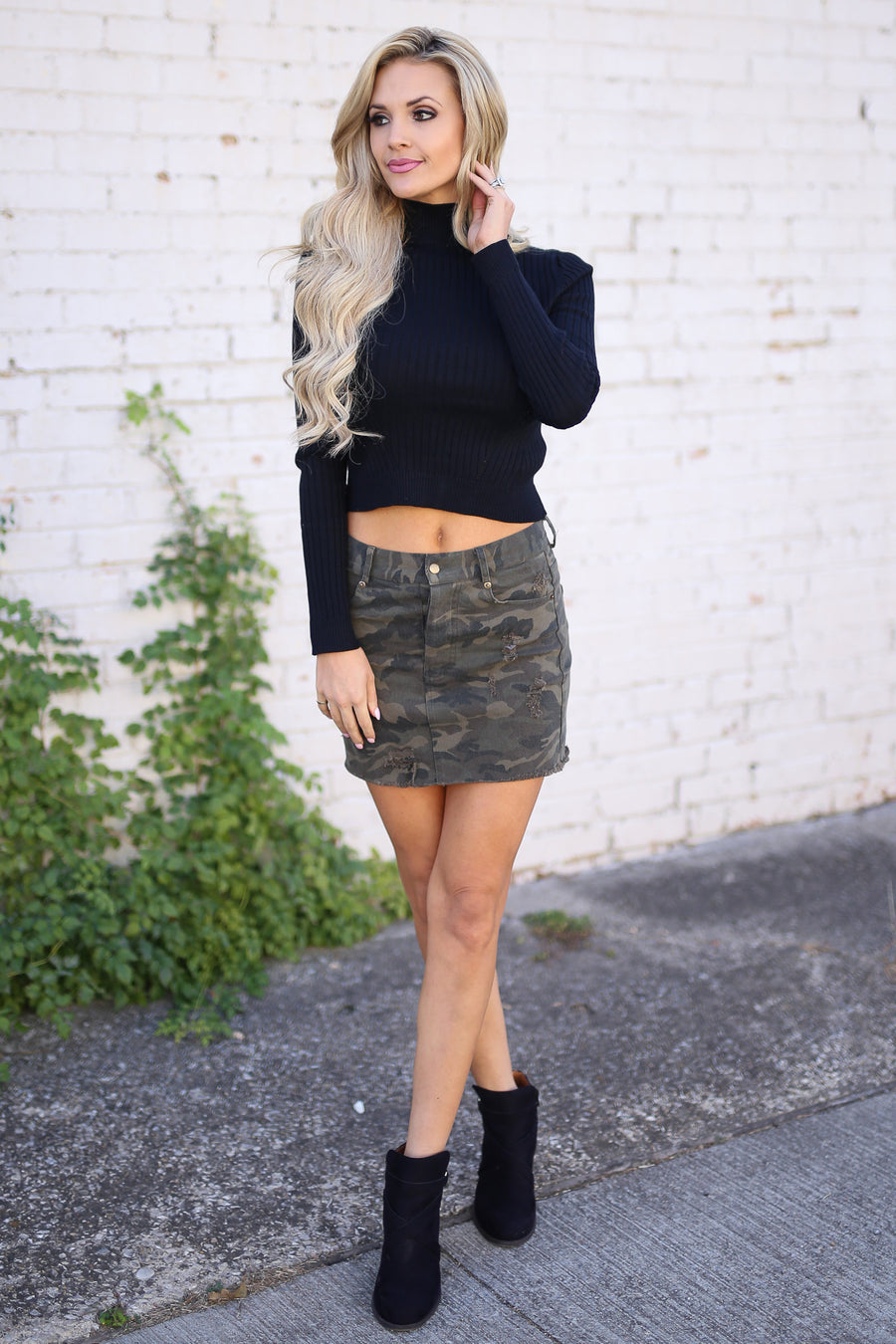 First Love Top - Black long sleeve ribbed crop top, side, Closet Candy Boutique