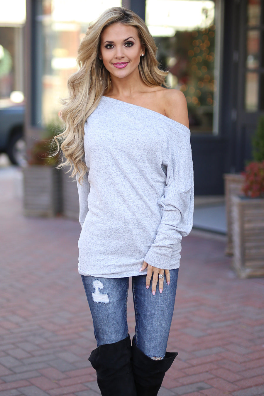 Brush It Off Top - Heather Grey long sleeve off the shoulder top, Closet Candy Boutique 1
