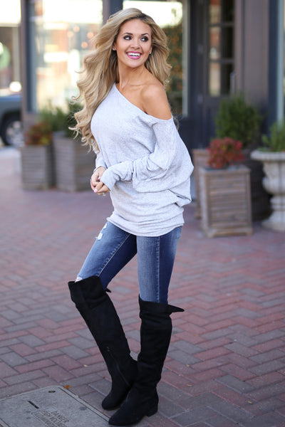 Brush It Off Top - Heather Grey long sleeve off the shoulder top, side, Closet Candy Boutique