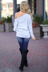 Brush It Off Top - Heather Grey long sleeve off the shoulder top, back, Closet Candy Boutique