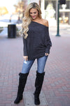 Brush It Off Top - Black long sleeve dolman off the shoulder top, front, Closet Candy Boutique 2