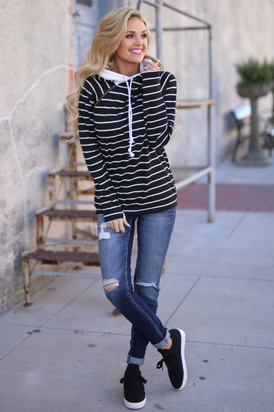 Double the Fun Hoodie - Black & White Stripe double hoodie sweatshirt, front, Closet Candy Boutique 5