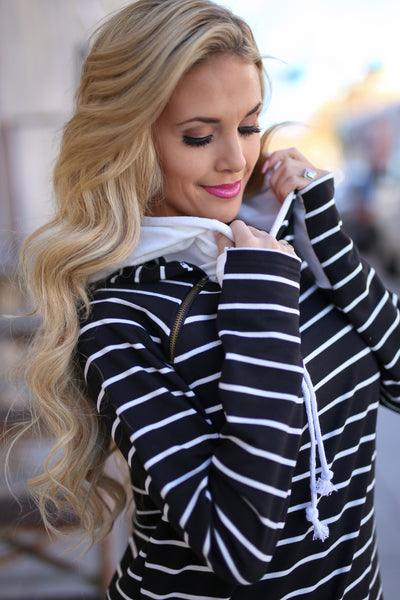 Double the Fun Hoodie - Black & White Stripe double hoodie sweatshirt, front, Closet Candy Boutique 3