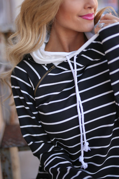 Double the Fun Hoodie - Black & White Stripe double hoodie sweatshirt, front, Closet Candy Boutique 1