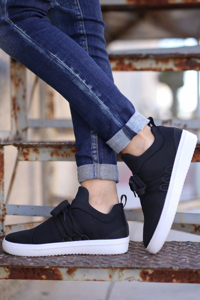 STEVE MADDEN Lancer Sneakers - Black mesh sneakers, side view, Closet Candy Boutique