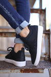 STEVE MADDEN Lancer Sneakers - Black mesh sneakers, back view, Closet Candy Boutique