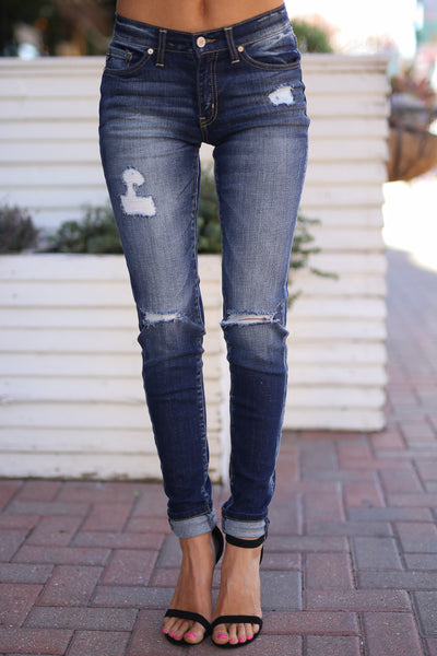 KAN CAN Distressed Jeans - Dark Wash skinny distressed jeans, front, Closet Candy Boutique