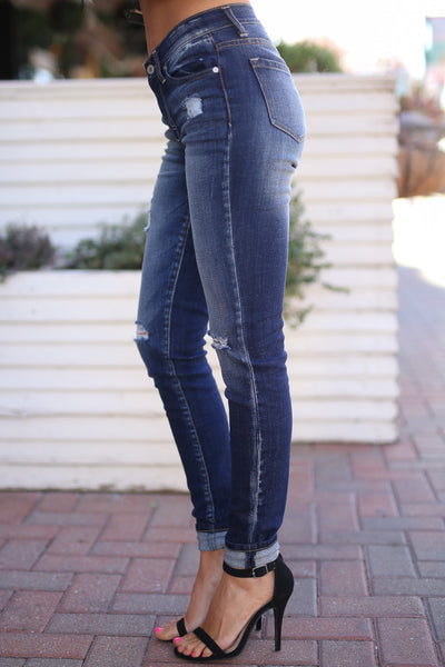 KAN CAN Distressed Jeans - Dark Wash skinny distressed jeans, side, Closet Candy Boutique