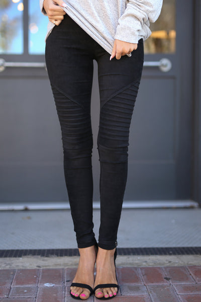 Suede Moto Leggings - Black suede rib moto leggings, Closet Candy Boutique 1