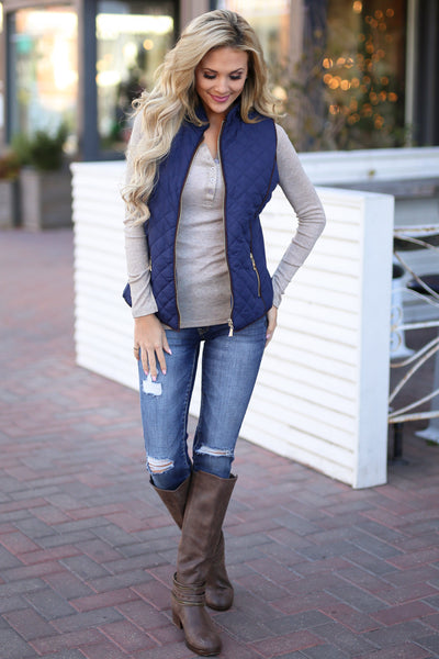 Northern Lights Puffer Vest - Navy zip front quilted vest, outfit view, Closet Candy Boutique 5