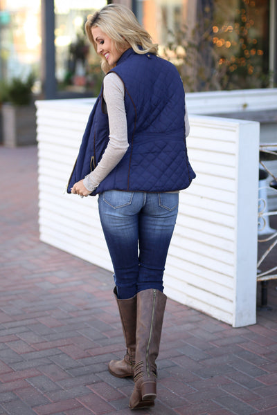 Northern Lights Puffer Vest - Navy zip front quilted vest, back view, Closet Candy Boutique 4