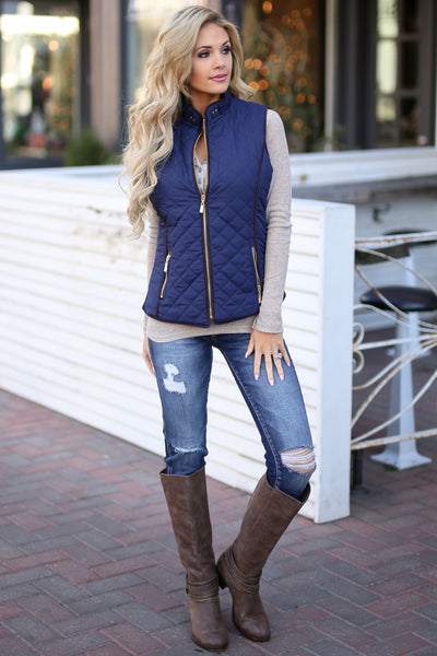 Northern Lights Puffer Vest - Navy zip front quilted vest, front view, Closet Candy Boutique 3