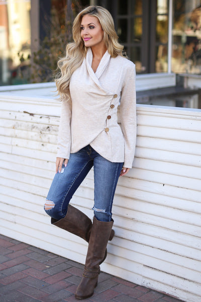 Stop Time Sweater - cute Oatmeal wrap sweater, Closet Candy Boutique 1