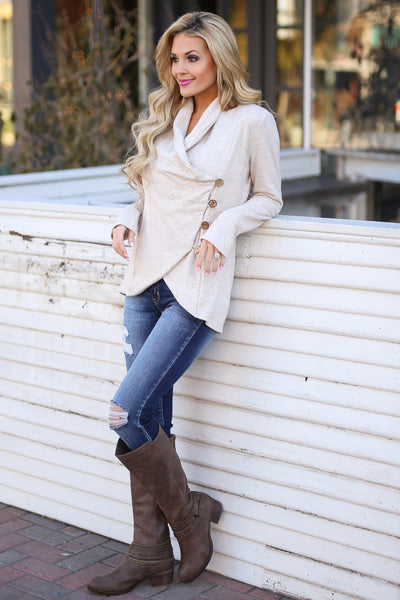 Stop Time Sweater - cute Oatmeal wrap sweater, Closet Candy Boutique 4