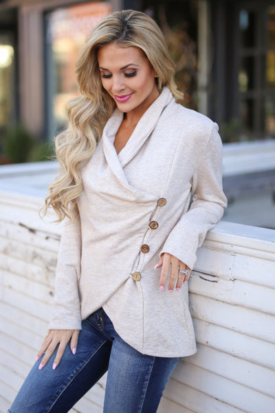 Stop Time Sweater - cute Oatmeal wrap sweater, Closet Candy Boutique 2