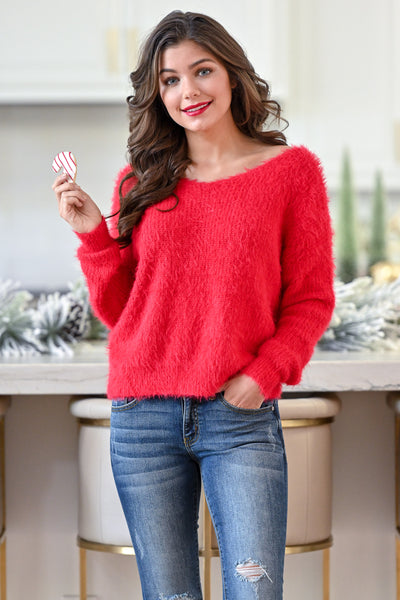In Perfect Harmony Sweater - Red Mohair women's flirty twist back sweater closet candy boutique 4