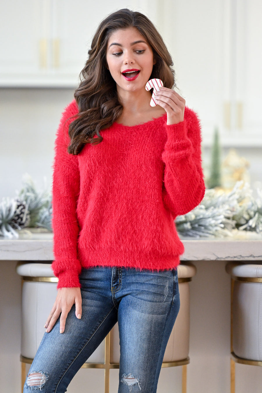 In Perfect Harmony Sweater - Red Mohair women's flirty twist back sweater closet candy boutique 1
