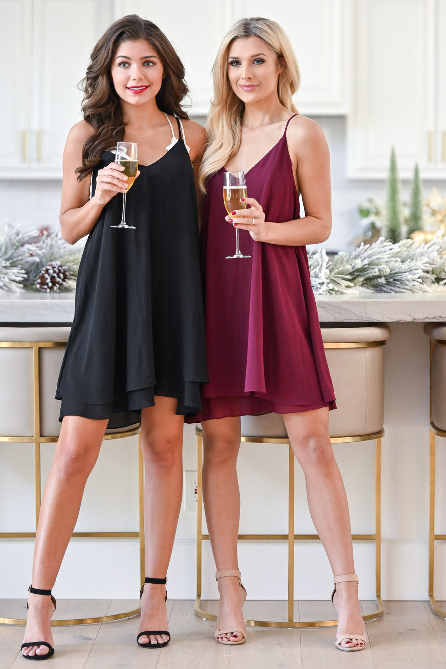 Champagne Toast Swing Dress - Plum women's flowy holiday dress, Closet Candy Boutique 1