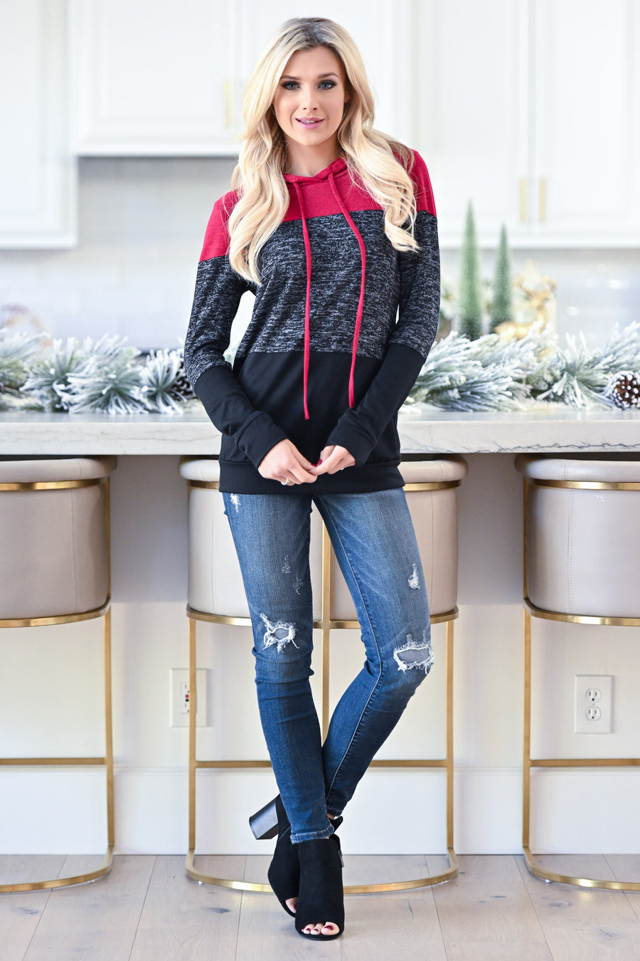 Day By Day Hoodie - Red & black hooded color block pullover top, closet candy boutique 1