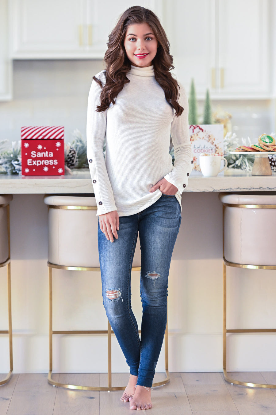 Cappuccino Crush Knit Top - White mock neck ribbed knit long sleeve, closet candy boutique 1