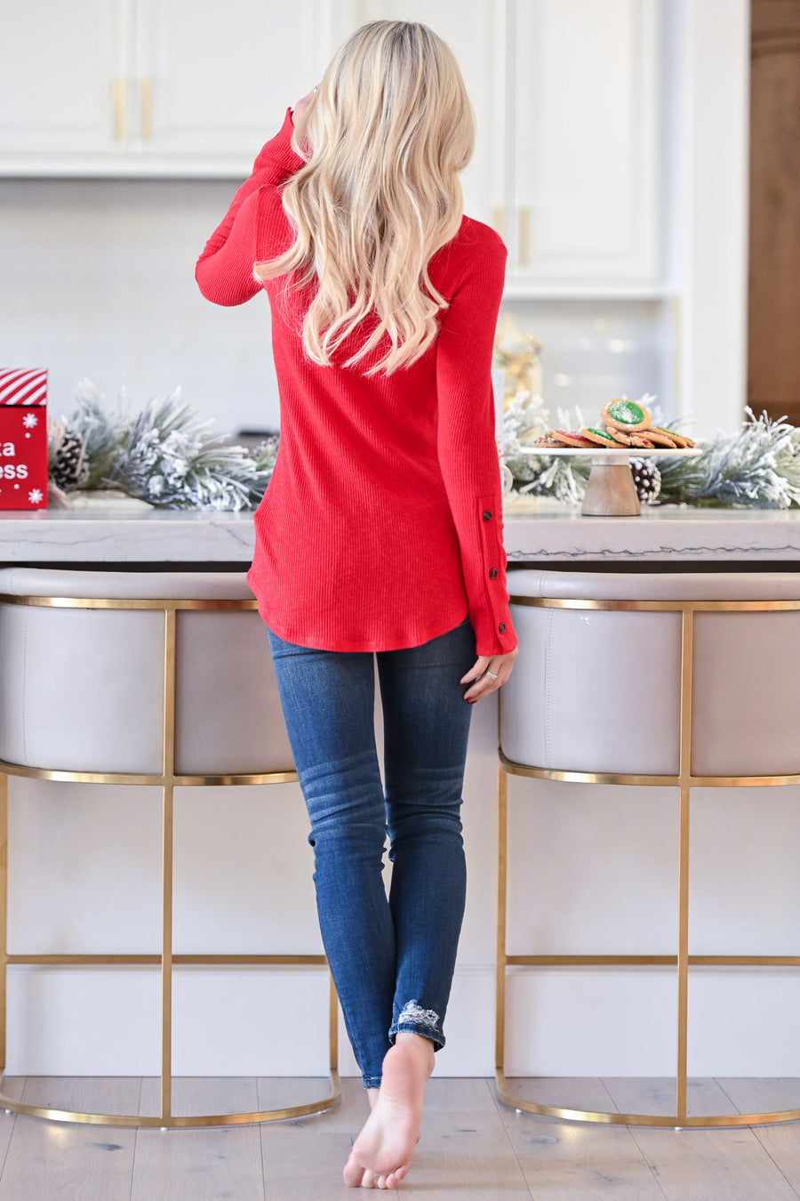 Cappuccino Crush Knit Top - Red mock neck ribbed knit long sleeve, closet candy boutique 1