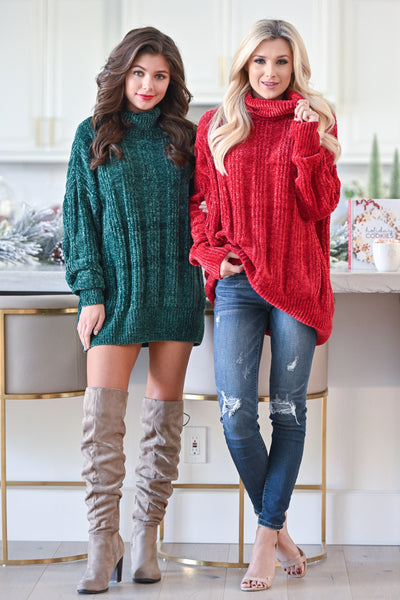 Feels Just Right Turtleneck Sweater - Emerald women's oversized chunky pullover sweater, closet candy boutique 2