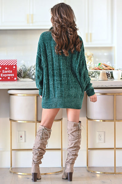 Feels Just Right Turtleneck Sweater - Emerald women's oversized chunky pullover sweater, closet candy boutique 3