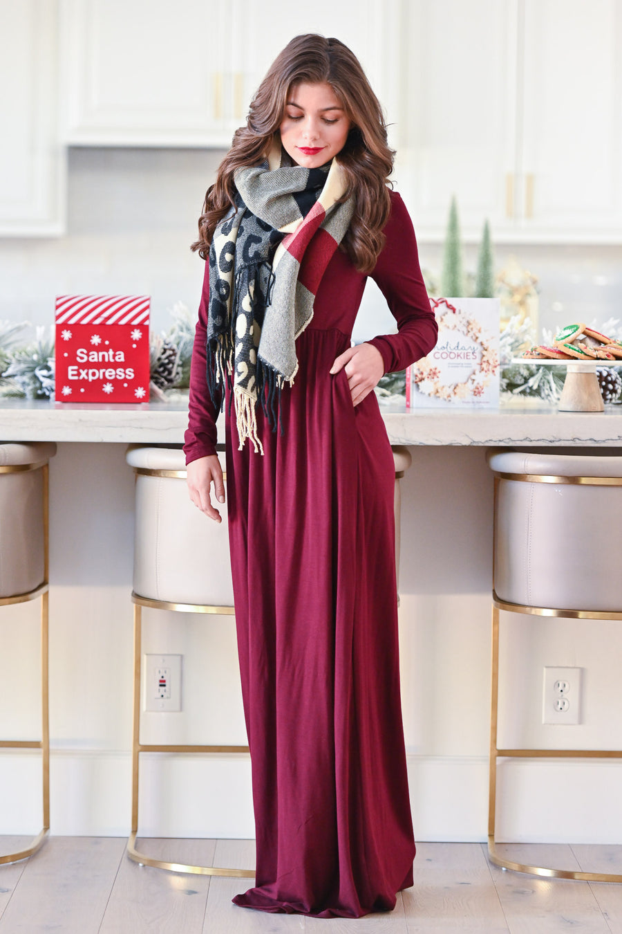 Holiday Treat Long Sleeve Maxi Dress - Wine women's holiday dress, Closet Candy Boutique 1