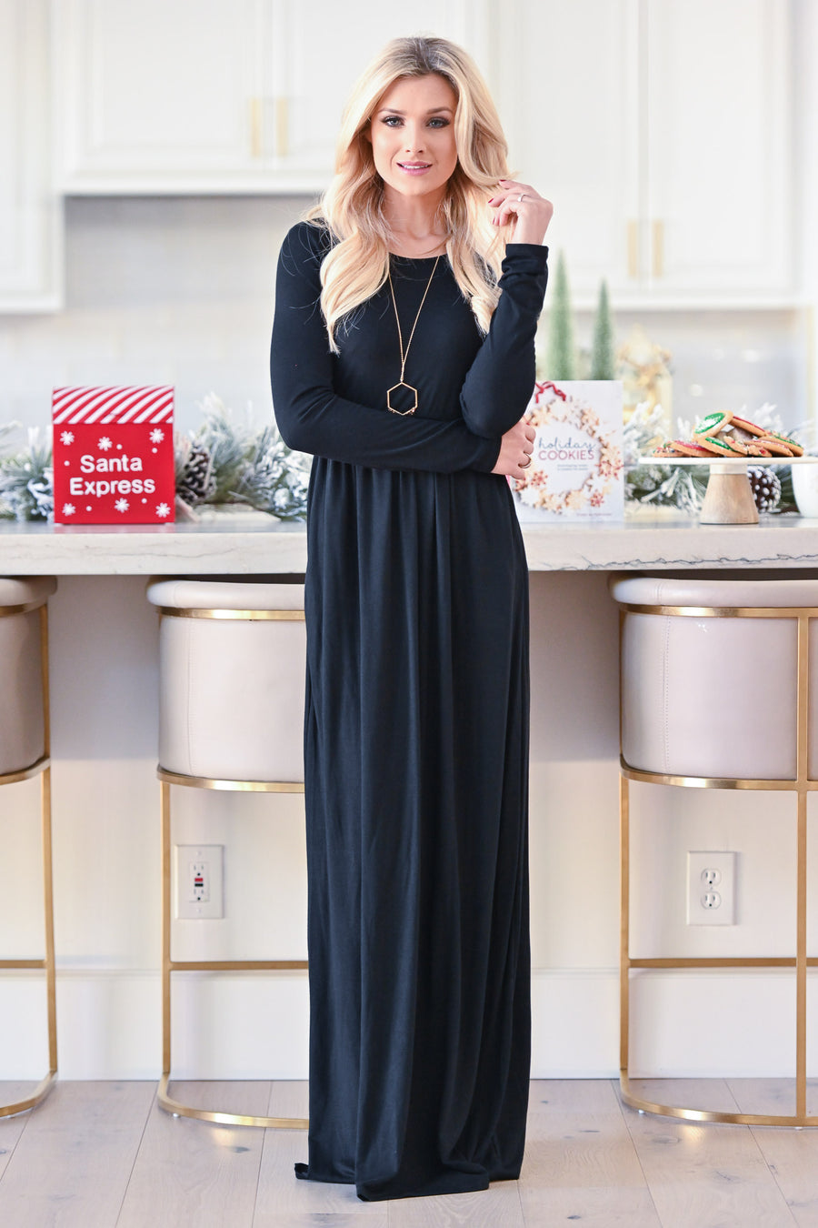 Holiday Treat Long Sleeve Maxi Dress - Black women's holiday dress, Closet Candy Boutique 1