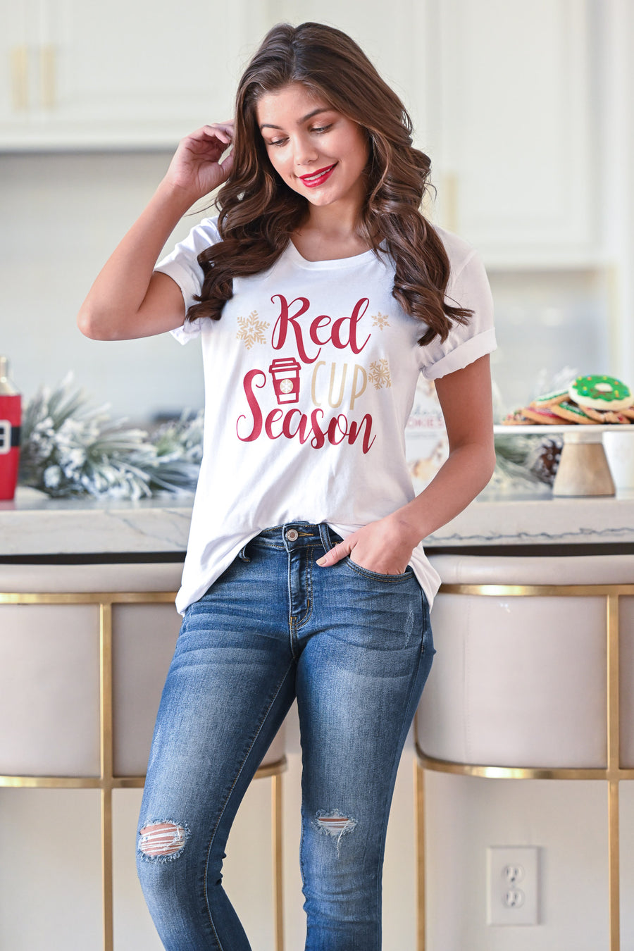 """Red Cup Season"" T-Shirt - White women's holiday graphic tee, Closet Candy Boutique 1"