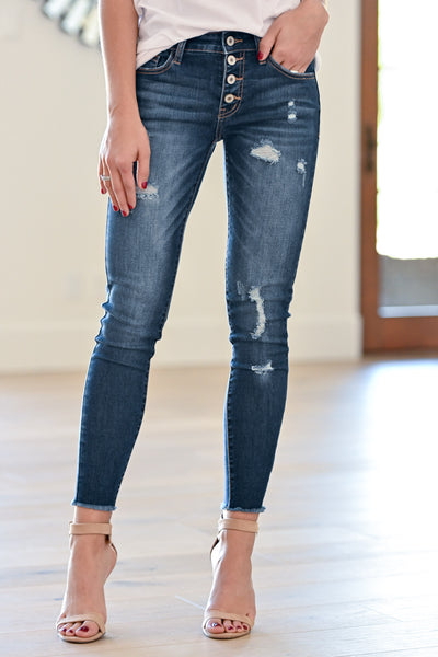 KAN CAN Exposed Button Distressed Jeans - Holly Wash women's dark jeans, Closet Candy Boutique 3