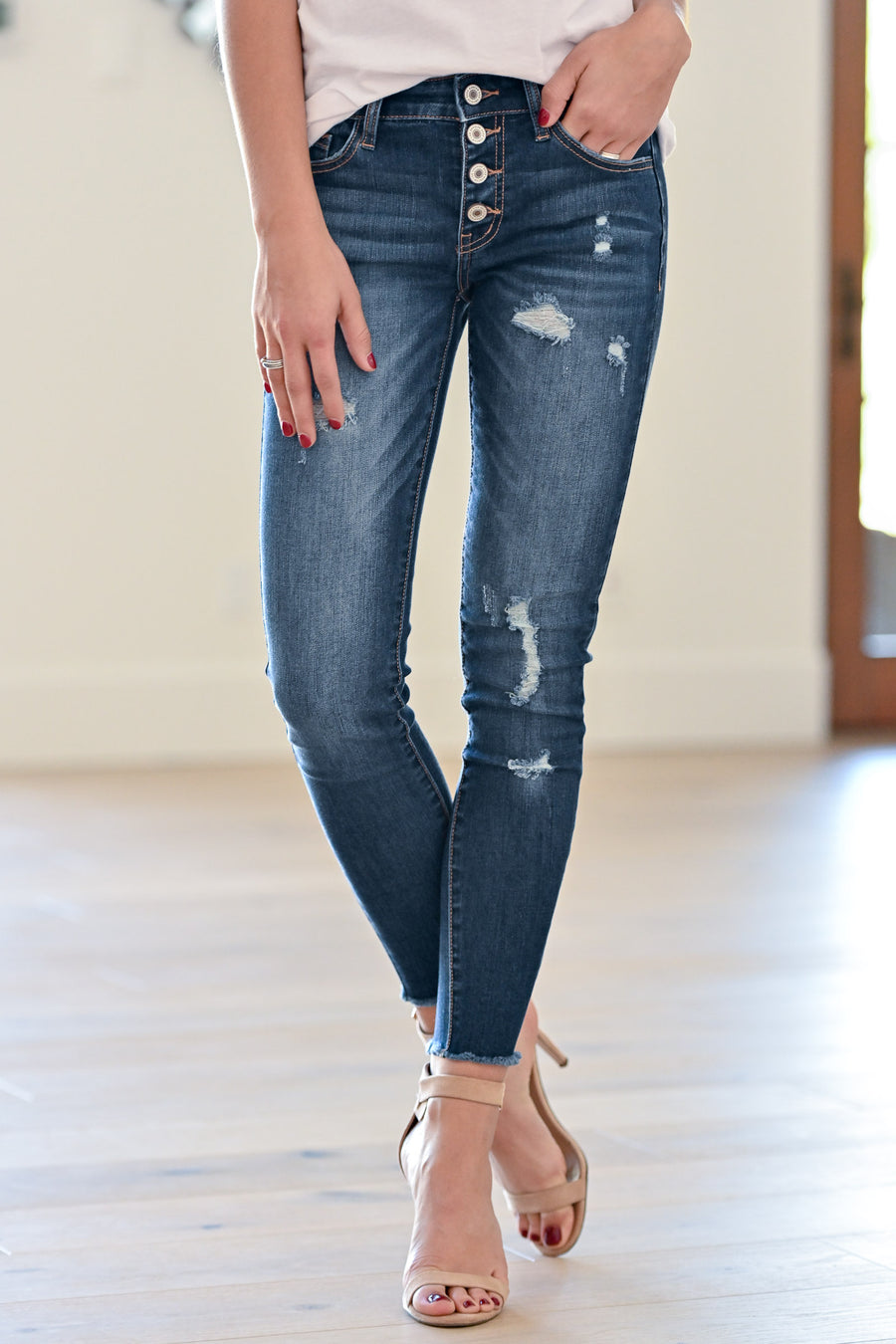 1b912f5d2e96 KAN CAN Exposed Button Distressed Jeans - Holly Wash women's dark jeans, Closet  Candy Boutique
