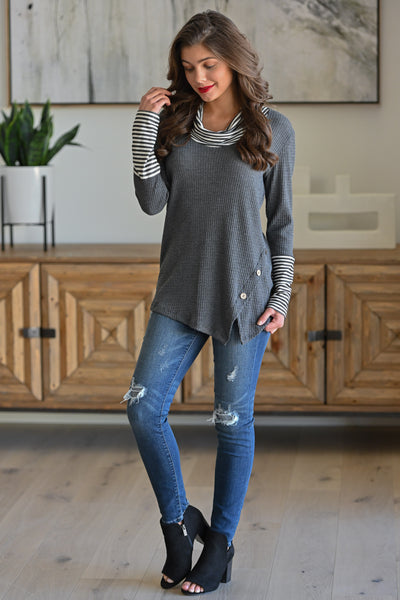 Nothing To Lose Top - Charcoal women's long sleeve top with stripe details, Closet Candy Boutique 1