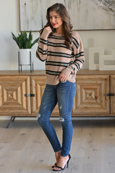 All Planned Out Striped Sweater - Taupe stripe print women's long sleeve top, Closet Candy Boutique 3