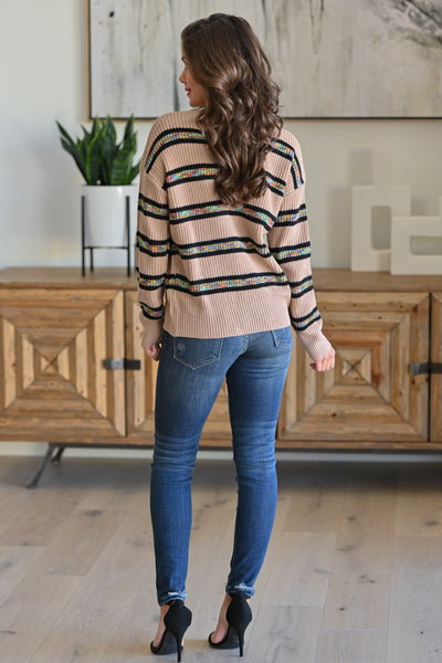 All Planned Out Striped Sweater - Taupe stripe print women's long sleeve top, Closet Candy Boutique 2