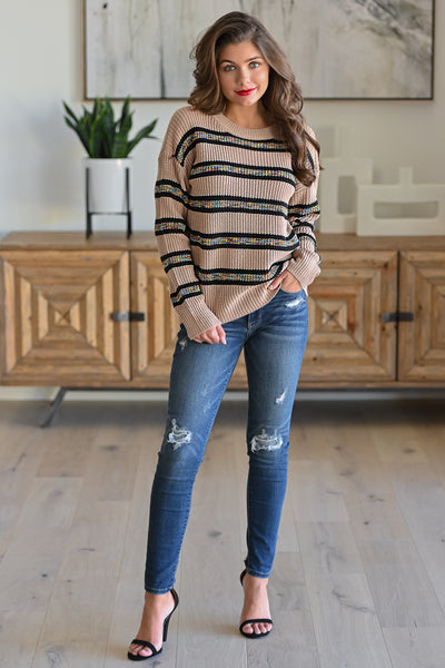 All Planned Out Striped Sweater - Taupe stripe print women's long sleeve top, Closet Candy Boutique 1