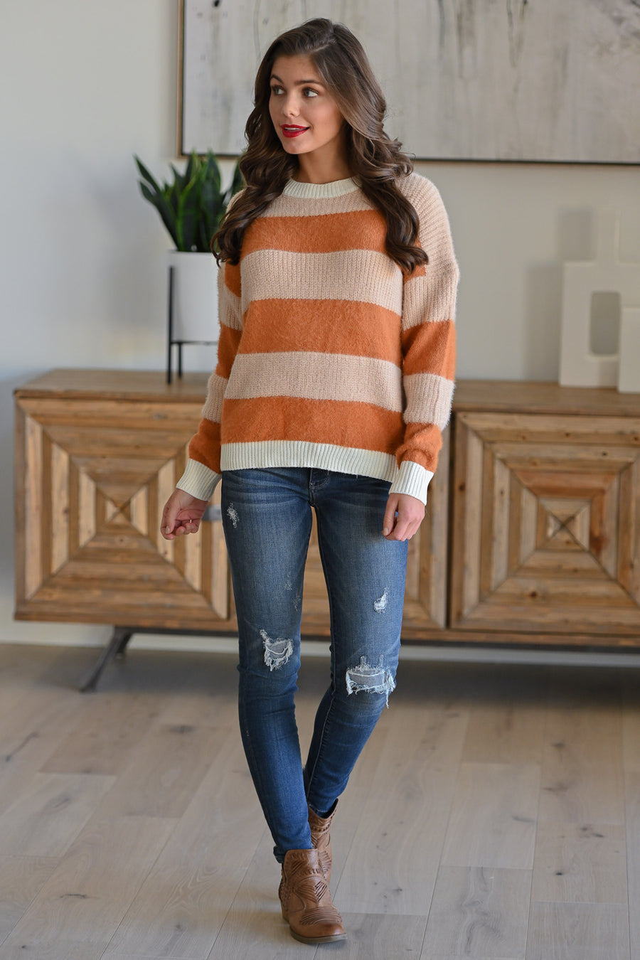 Hold On Tight Striped Sweater - Apricot women's stripe print color block top, Closet Candy Boutique 1
