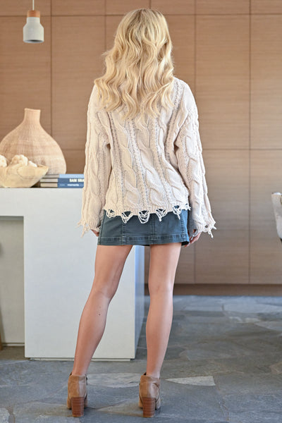 Wonderland Frayed Cable Knit Sweater - Cream