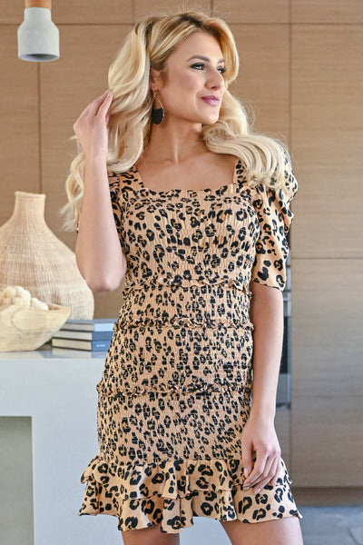 Wild Thing Dress - Leopard womens trendy short ruffle sleeve mini dress closet candy front