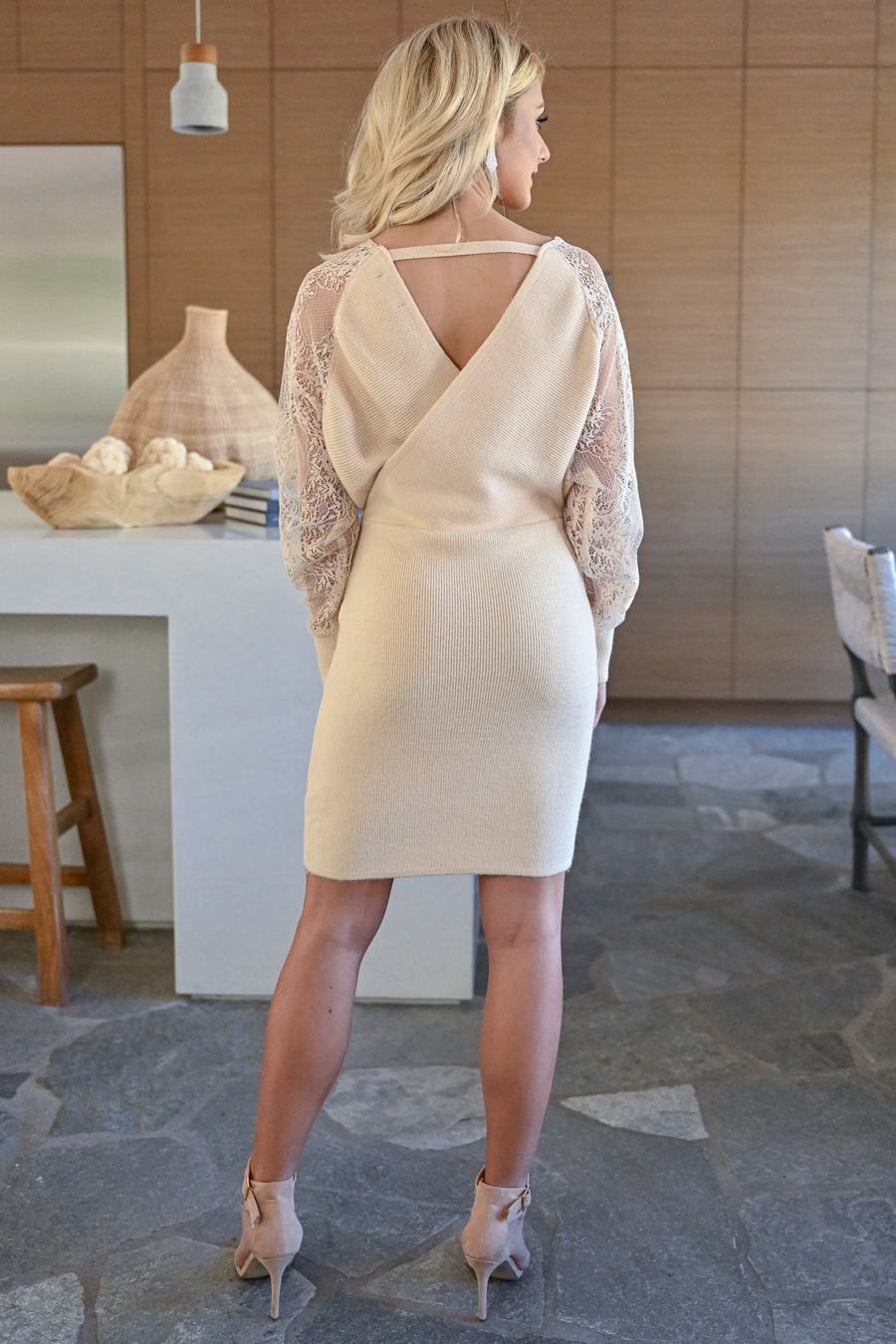 So Romantic Wrap Dress - Cream womens trendy long lace sleeve fitted skirt ribbed dress closet candy front