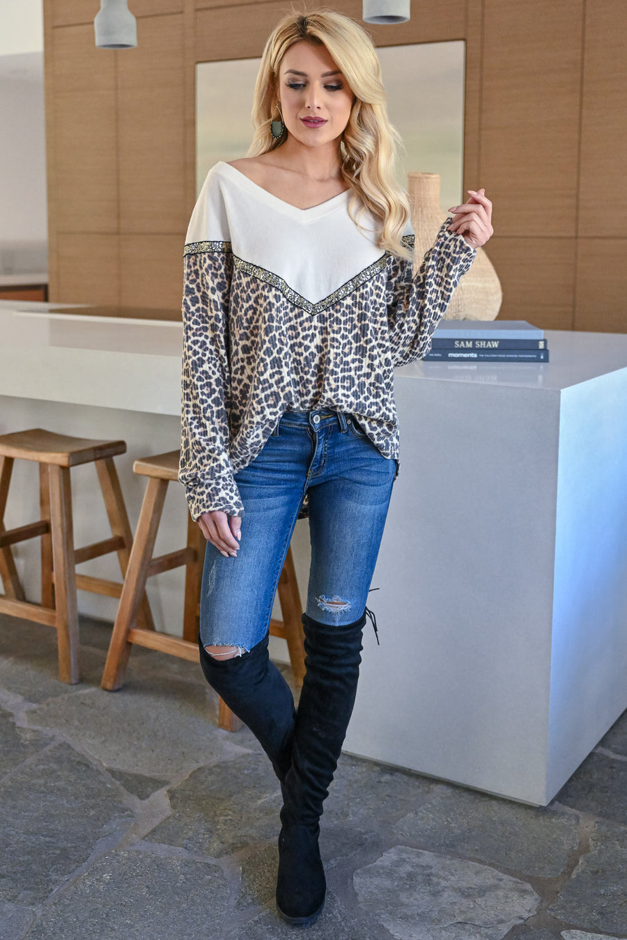 Wildly Popular Long Sleeve Top - Leopard womens trendy v-neck sequin detail  color block leopard print long sleeve top closet candy front