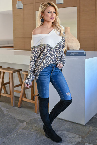 Wildly Popular Long Sleeve Top - Leopard womens trendy v-neck sequin detail  color block leopard print long sleeve top closet candy side