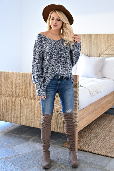 Long Days Sweater - Navy womens casual marled knit long sleeve v-neck sweater closet candy front 2