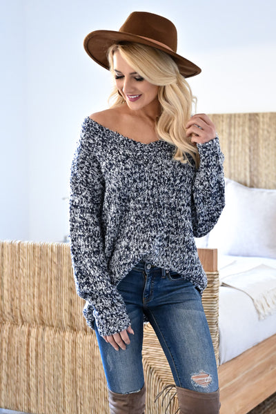 Long Days Sweater - Navy womens casual marled knit long sleeve v-neck sweater closet candy front