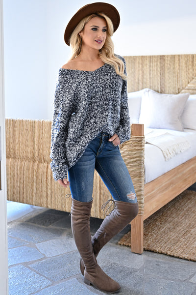 Long Days Sweater - Navy womens casual marled knit long sleeve v-neck sweater closet candy side