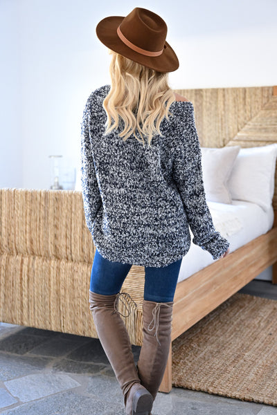Long Days Sweater - Navy womens casual marled knit long sleeve v-neck sweater closet candy back