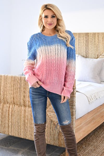 Cotton Candy Dreams Ombre Sweater womens trendy color block dip dye cable knit long sleeve sweater closet candy front 2